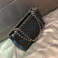 包包女2018新款韩版时尚大容量菱格链条包单肩包手提包女包大包潮 黑色