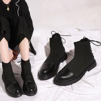 韩版百搭靴子英伦坡跟休闲平底马丁靴潮切尔西短靴女