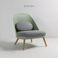 北欧单人沙发椅阳台休闲单椅塑料靠背椅懒人躺椅脚踏老虎椅蜗牛椅 灰