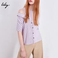 Lily春新款女装个性条纹拼接镂空T恤短袖圆领T恤118300A8681