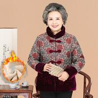 中老年棉服 女士时尚立领加绒棉服2020秋冬新款女式民族风加厚印染棉衣保暖妈妈装外套