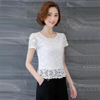 白色蕾丝上衣女夏季短袖2017新款短款雷丝衫勾花镂空气质显瘦收腰