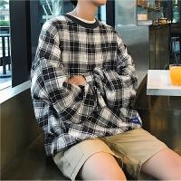春季韩版宽松格子卫衣潮男圆领套头卫衣休闲上衣