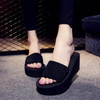女款凉鞋一字凉拖鞋沙滩厚底坡跟一字拖鞋女士沙滩鞋松糕拖鞋