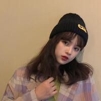 日系时尚百搭毛线帽子女韩版秋冬季加厚保暖问号贴布纯色护耳针织帽潮