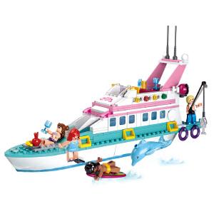 【当当自营】小鲁班新粉色梦想女孩海豚湾系列儿童益智拼装积木玩具 豪华游艇M38-B0609