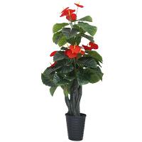 室内装饰客厅花卉落地盆栽绿植摆件盆景假花红掌大型家居仿真植物