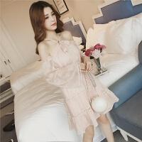 2018春季新款时尚韩版中长款露肩挂脖女连衣裙系带女装雪纺打底裙 粉色