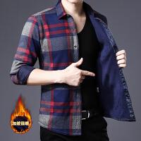 男款衬衣秋冬季新品男士加绒时尚格子长袖衬衫加厚加绒保暖衬衣潮