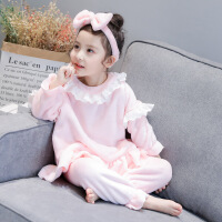 女童睡衣冬装珊瑚绒可爱家居服套装法兰绒花边长袖睡衣秋