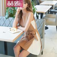【hersheson赫��】2017新款时尚气质百褶雪纺拼接连衣裙假两件显瘦背心裙H6678