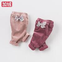 戴维贝拉女童秋冬保暖裤子 宝宝加厚休闲裤子DB3953