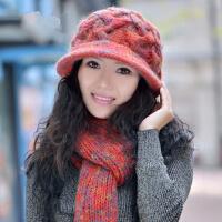 韩版潮时尚毛线帽帽子女士保暖羊毛帽子围巾两件套装