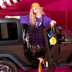 妖精的口袋紫霞的情书春秋装新款蕾丝吊带连衣裙女短裙子