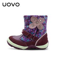 UOVO2017 蝶 真皮女童童鞋 中筒雪地靴中童毛绒儿童靴