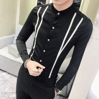 港风青少年立领衬衫男长袖韩版 帅气工作服新款发型师潮流白