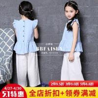 韩版童装套装女童夏季棉麻飞袖上衣娃娃衫+7分阔腿裤中大童两件套