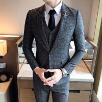 韩版修身发型师西服男青年小西装三件套商务休闲格子西装