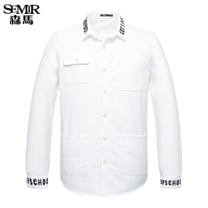 森马长袖衬衫 休闲简约学生 男士韩版字母印花青少年 衬衫式外套