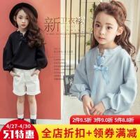 女童套头卫衣春装2018新款韩版宝宝儿童春秋长袖女孩上衣圆领卫衣