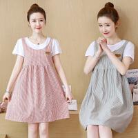 孕妇装夏装2018新款韩版圆领短袖宽松大码时尚假两件孕妇连衣裙女