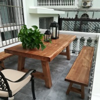 户外桌椅组合庭院实木餐桌花园防腐桌椅室外餐桌椅阳光房天台长桌