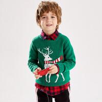 【直降秒杀价:49】小猪班纳童装男童针织衫儿童圆领圣诞毛衣女纯棉套头线衣宝宝上衣