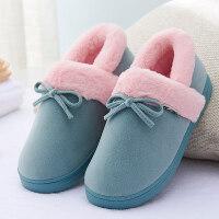 秋冬季子棉鞋 冬天室内 儿童棉拖鞋 女士包跟厚底男保暖月子鞋