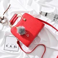 新款大气女士手提包韩版时尚女包小包包简约百搭单肩斜挎包潮 红色 【送黑色手拿包】