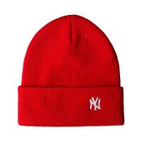 MLB 美职棒毛线帽针织帽 NY字母刺绣男女情侣秋冬韩版黑色金标