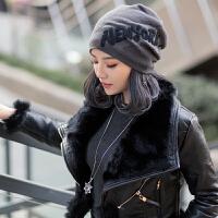 帽子女时尚韩版潮帽英伦百搭韩国女士春秋包头头巾冬季针织毛线帽