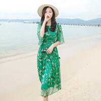 【每满200减100 400减200】Fanru梵如 2016夏装新款韩版大码女装波西米亚沙滩长裙圆领碎花五分袖沙滩裙