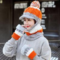 户外防寒围脖一体保暖手套女 韩版毛线帽子帽鸭舌针织帽女 户外骑车防风帽子女