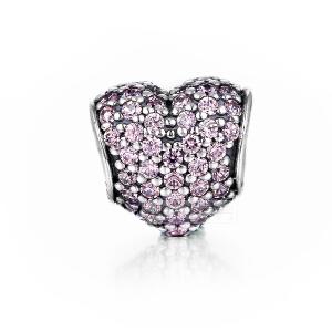 PANDORA 潘多拉 粉色 Pavé 心形密镶宝石 791052PCZ