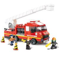 【当当自营】小鲁班急速火警系列儿童益智拼装积木玩具 云梯消防车M38-B0221