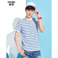 森马短袖T恤男士2017夏装新款POLO衫条纹简约上衣韩版学生衣服