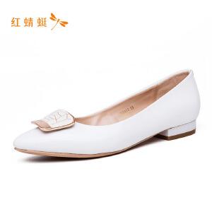 【专柜正品】红蜻蜓方扣时尚纯色亮面平跟女单鞋