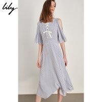 Lily春夏新款女装清新蓝白细条纹绑带露肩连衣裙118279C7956