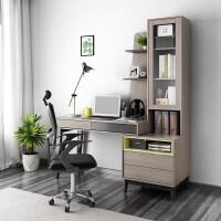 北欧现代简约台式电脑桌学习办公桌卧室家用书桌书柜书架一体组合