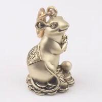 中国风铜饰纯黄铜钥匙扣生肖鼠挂件复古动物创意吊坠汽车挂饰礼品