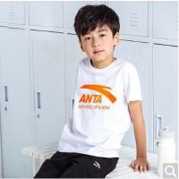 安踏儿童短袖T恤男夏季棉中大童运动短T舒适棉半袖上衣A35028114