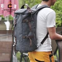 双肩包男韩版户外旅行背包帆布男士背包大容量圆桶包学生双肩背包 灰色 加厚帆布-*品