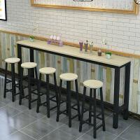 靠墙吧台桌家用简约创意小吧台酒吧奶茶店桌椅组合细长条桌窄桌子 240*40*100+6凳子 颜色留言