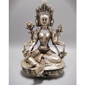 古玩铜器收藏 白铜藏佛 白度母 工艺精湛
