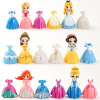 美人鱼灰姑娘芭比娃娃白雪公主摆件换装人偶手办模型玩具换衣娃娃 6位娃娃18件裙子 8cm