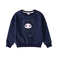【3件5.5折到手价:53.9】小猪班纳童装女童卫衣T恤2019春装新款韩版潮洋气卡通长袖上衣