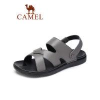 camel骆驼男鞋2019夏季男士时尚户外牛皮休闲商务拖鞋柔韧软弹舒适凉鞋