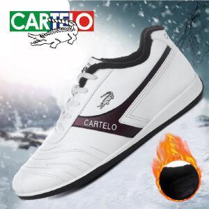 卡帝乐鳄鱼冬季男鞋棉鞋休闲鞋运动鞋平底黑色运动鞋旅游鞋男鞋棉