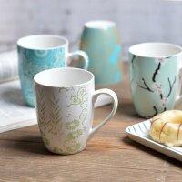简约田园骨瓷杯子陶瓷杯小清新马克杯咖啡杯家用喝水杯套装办公室