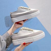 韩版女士百搭厚底板鞋 新款系带小白鞋女 小众西班牙运动鞋时尚帆布女鞋